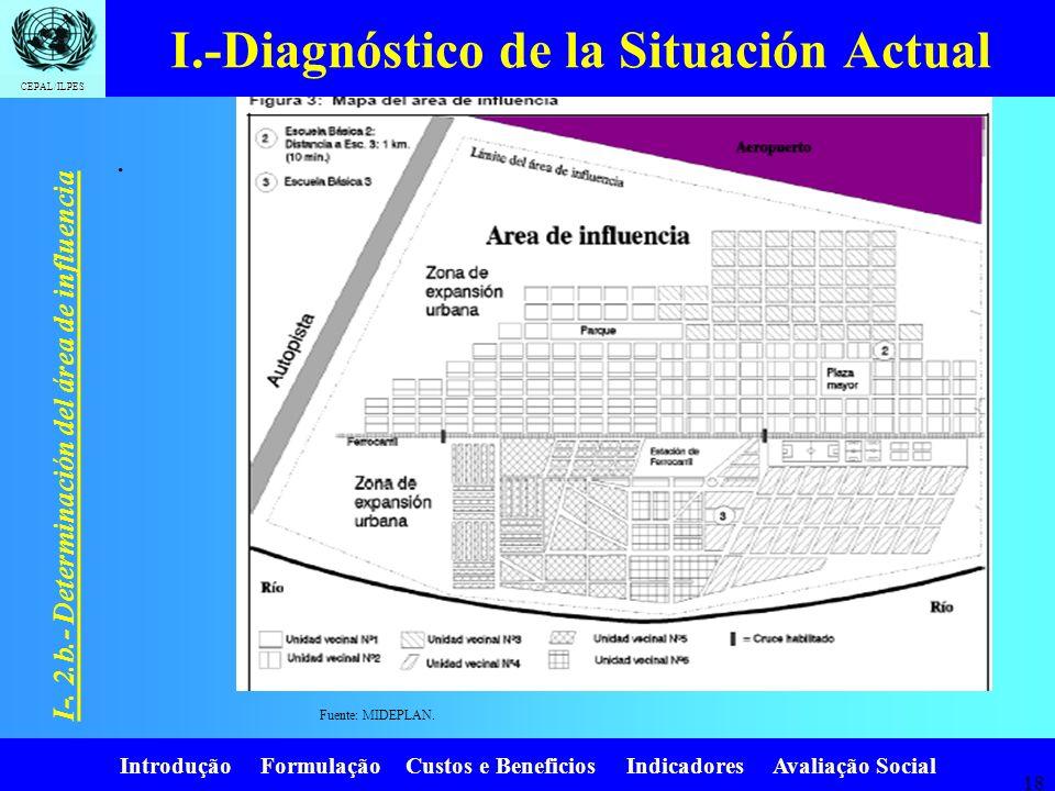 Introdução Formulação Custos e Beneficios Indicadores Avaliação Social CEPAL/ILPES 17 I-. 2.b.- Determinación del área de influencia Para la identific