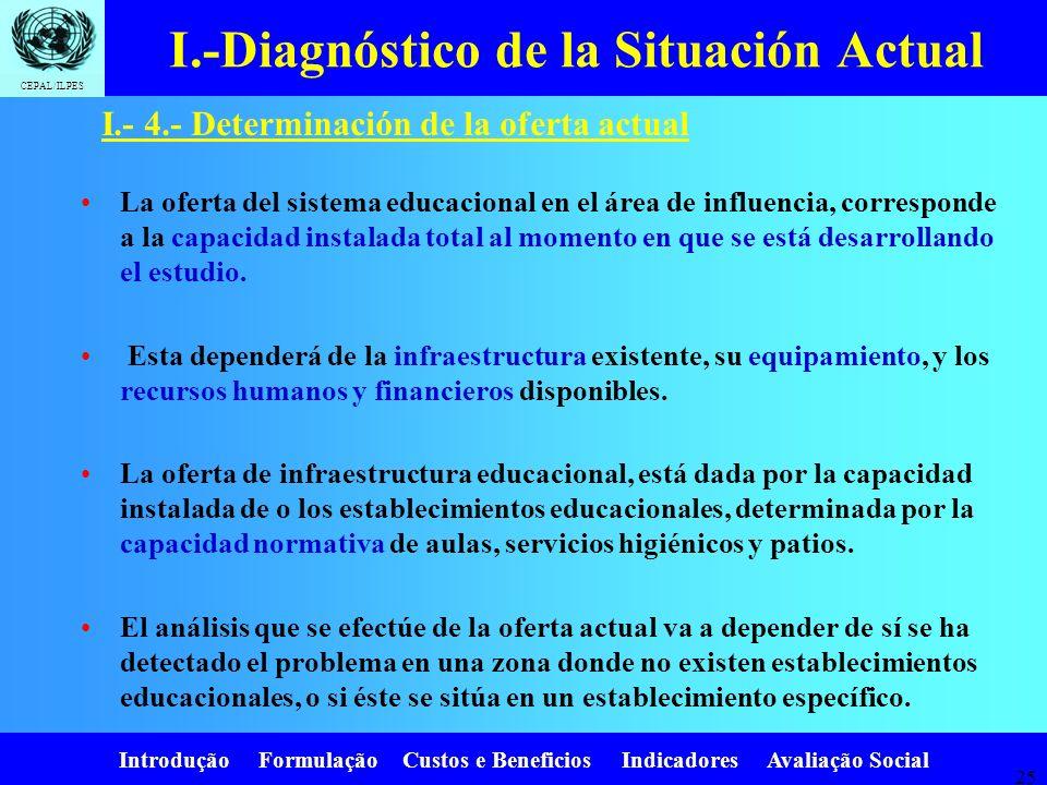 Introdução Formulação Custos e Beneficios Indicadores Avaliação Social CEPAL/ILPES 24. I.-Diagnóstico de la Situación Actual I.- 3.- Determinación de