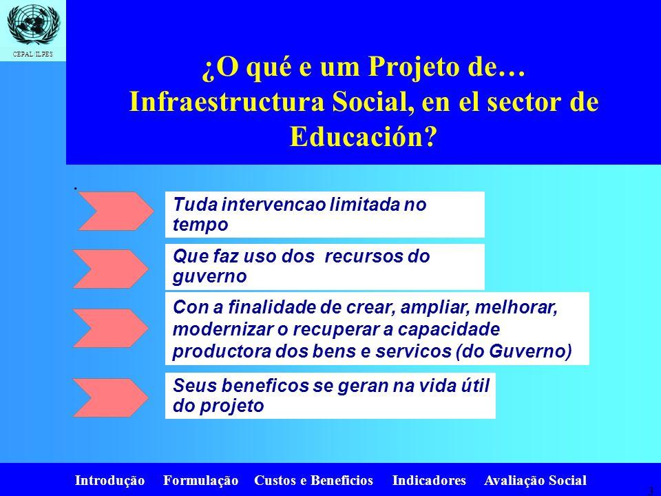 Introdução Formulação Custos e Beneficios Indicadores Avaliação Social CEPAL/ILPES 3 ¿O qué e um Projeto de… Infraestructura Social, en el sector de Educación?.