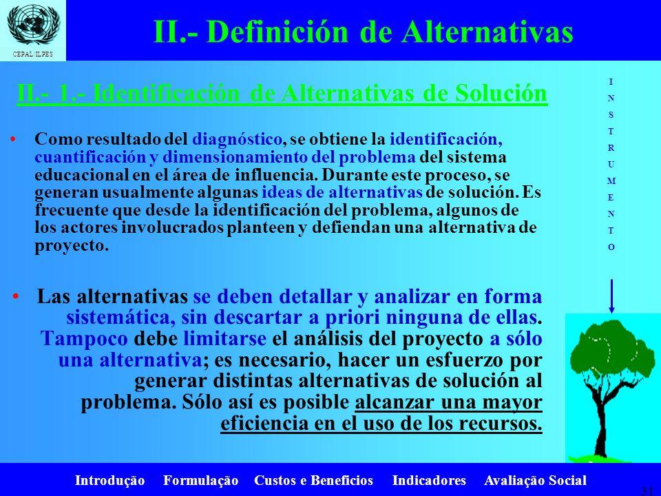 Introdução Formulação Custos e Beneficios Indicadores Avaliação Social CEPAL/ILPES 30 Pasos: 1.Identificación y definición de alternativas de solución
