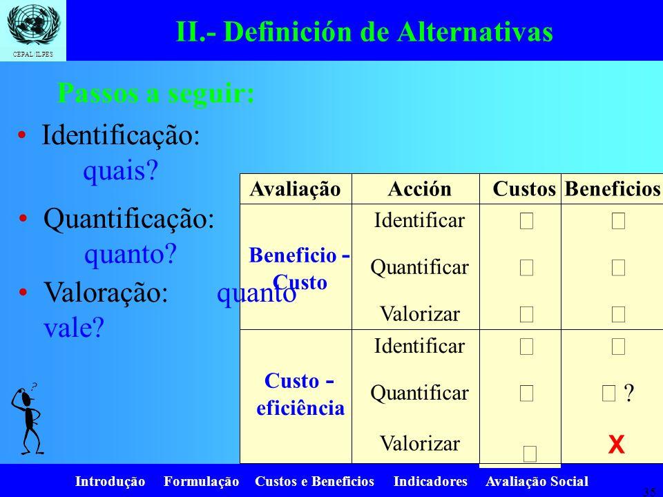 Introdução Formulação Custos e Beneficios Indicadores Avaliação Social CEPAL/ILPES 34 II.- 3.- Descripción de las alternativas Una vez identificadas,