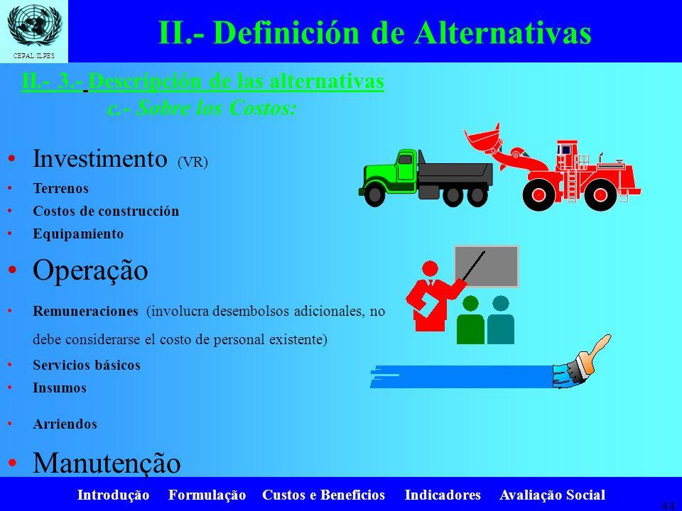 Introdução Formulação Custos e Beneficios Indicadores Avaliação Social CEPAL/ILPES 43 II.- Definición de Alternativas Pasos: iii.Estimación del precio