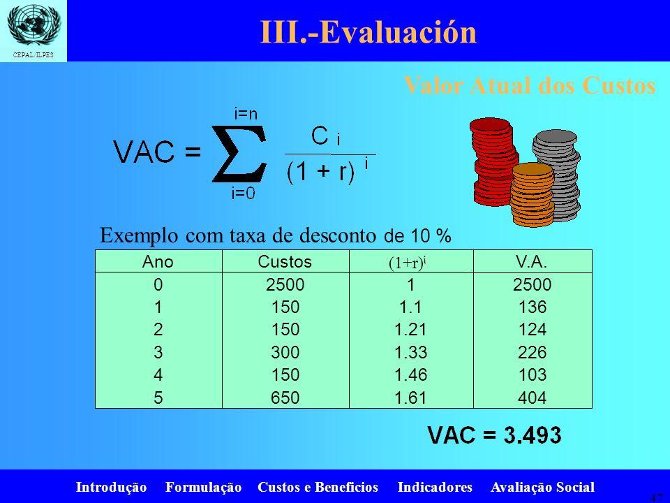 Introdução Formulação Custos e Beneficios Indicadores Avaliação Social CEPAL/ILPES 46 III.-Evaluación Beneficios EducaciónCostos EducaciónBeneficios E
