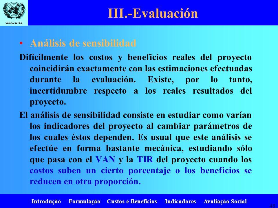 Introdução Formulação Custos e Beneficios Indicadores Avaliação Social CEPAL/ILPES 47 AnoCustos (1+r) i V.A. 025001 11501.1136 21501.21124 33001.33226