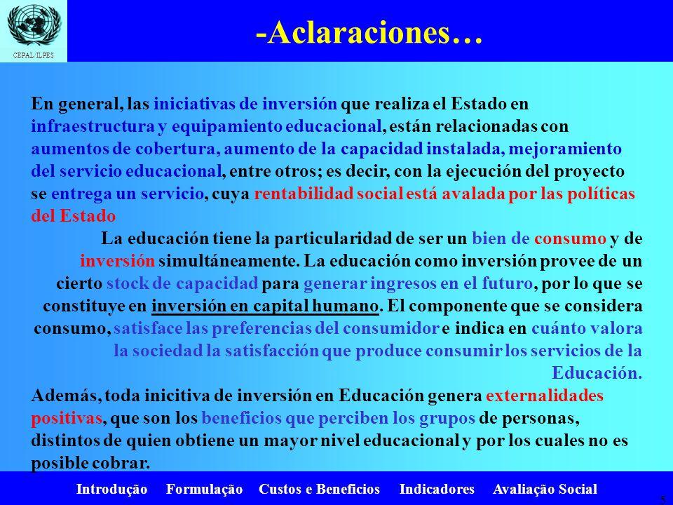 Introdução Formulação Custos e Beneficios Indicadores Avaliação Social CEPAL/ILPES 15.