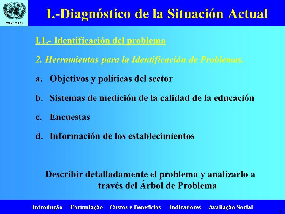 Introdução Formulação Custos e Beneficios Indicadores Avaliação Social CEPAL/ILPES 9 I.1.- Identificación del problema 2.