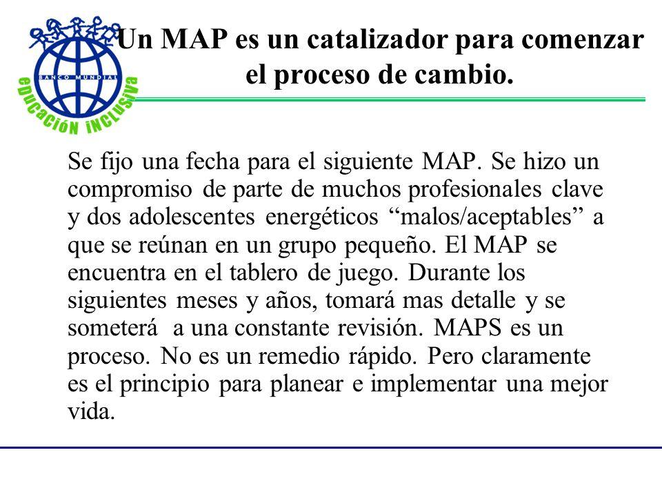 Un MAP es un catalizador para comenzar el proceso de cambio. Se fijo una fecha para el siguiente MAP. Se hizo un compromiso de parte de muchos profesi