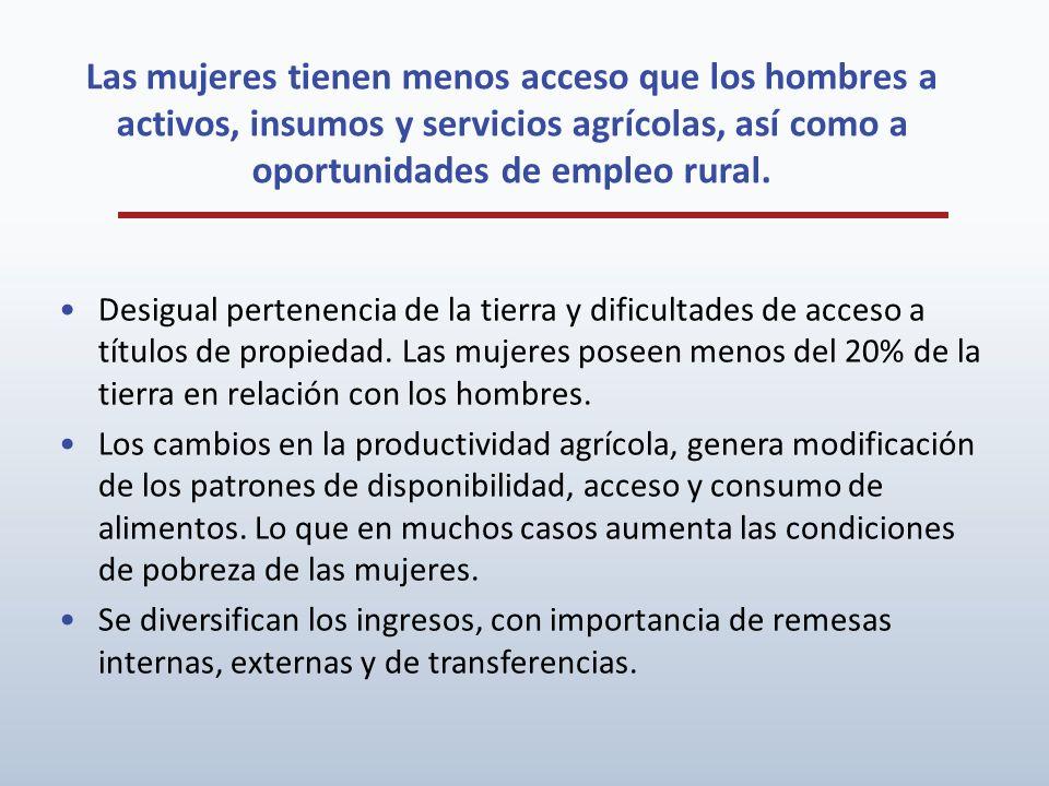 Las mujeres tienen menos acceso que los hombres a activos, insumos y servicios agrícolas, así como a oportunidades de empleo rural. Desigual pertenenc