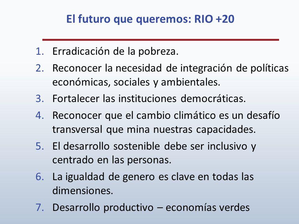 El futuro que queremos: RIO +20 1.Erradicación de la pobreza. 2.Reconocer la necesidad de integración de políticas económicas, sociales y ambientales.