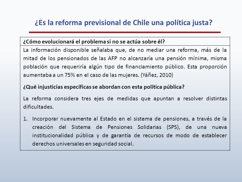 ¿Es la reforma previsional de Chile una política justa? ¿Cómo evolucionará el problema si no se actúa sobre él? La información disponible señalaba que