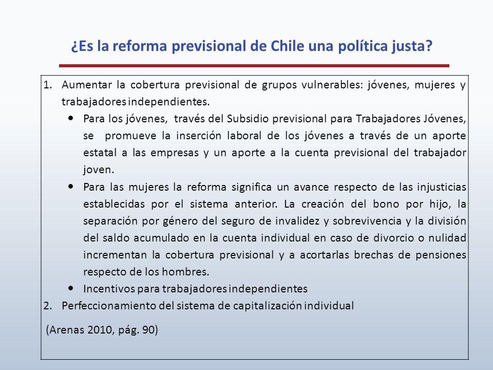 ¿Es la reforma previsional de Chile una política justa? 1.Aumentar la cobertura previsional de grupos vulnerables: jóvenes, mujeres y trabajadores ind