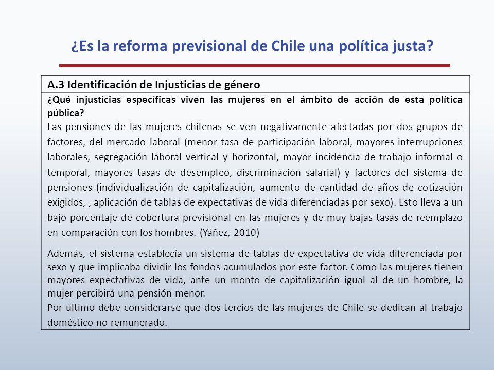 ¿Es la reforma previsional de Chile una política justa? A.3 Identificación de Injusticias de género ¿Qué injusticias específicas viven las mujeres en