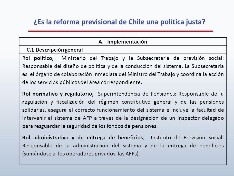 ¿Es la reforma previsional de Chile una política justa? A.Implementación C.1 Descripción general Rol político, Ministerio del Trabajo y la Subsecretar