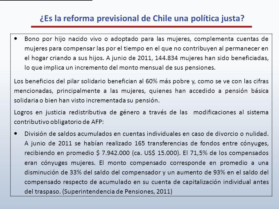 ¿Es la reforma previsional de Chile una política justa? Bono por hijo nacido vivo o adoptado para las mujeres, complementa cuentas de mujeres para com