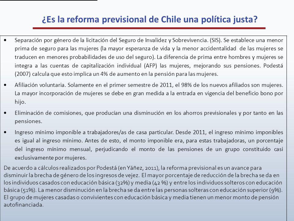 ¿Es la reforma previsional de Chile una política justa? Separación por género de la licitación del Seguro de Invalidez y Sobrevivencia. (SIS). Se esta