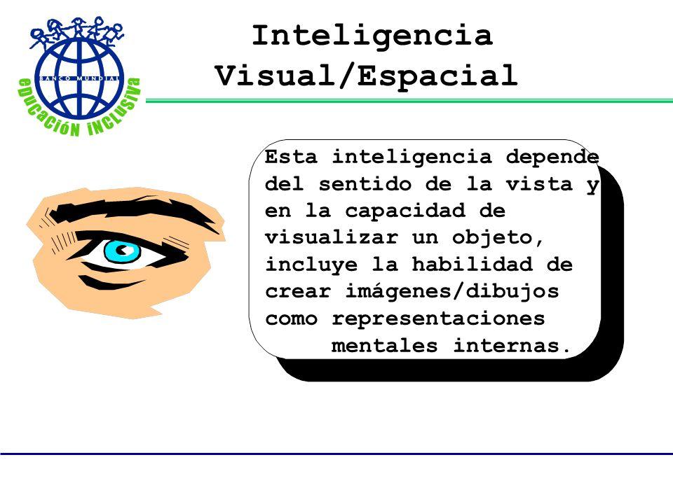 Inteligencia Visual/Espacial Esta inteligencia depende del sentido de la vista y en la capacidad de visualizar un objeto, incluye la habilidad de crea
