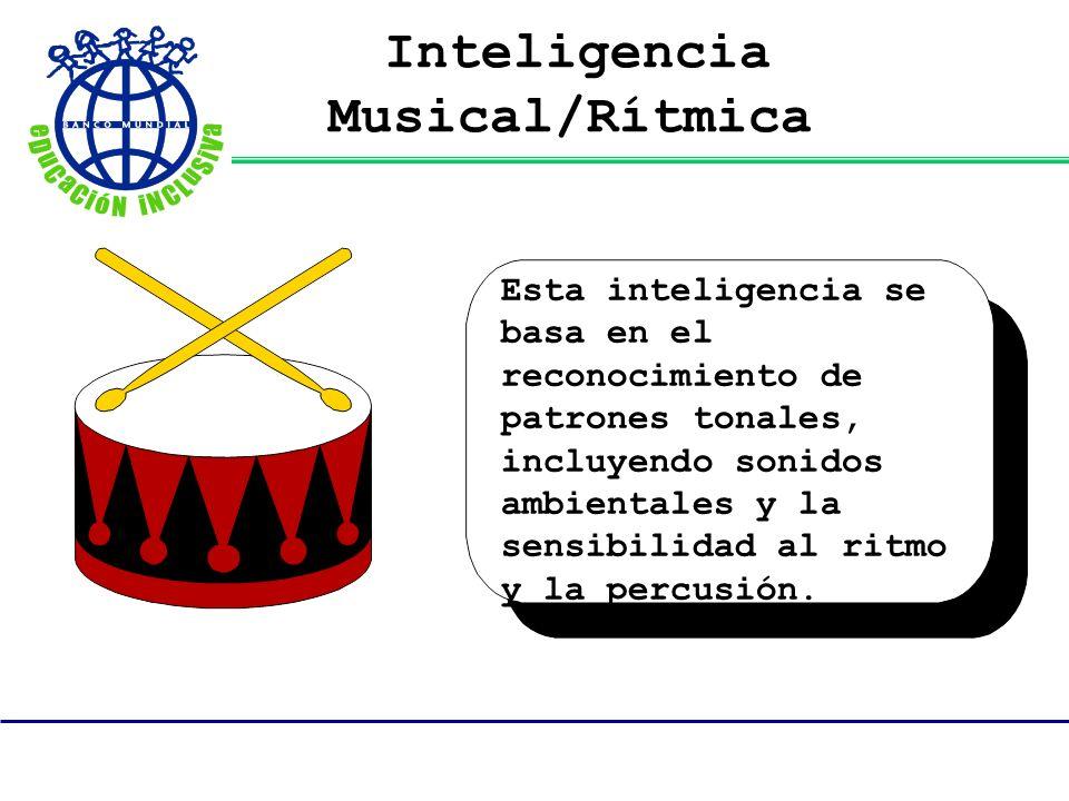 Inteligencia Musical/Rítmica Esta inteligencia se basa en el reconocimiento de patrones tonales, incluyendo sonidos ambientales y la sensibilidad al r