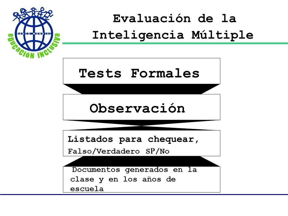 Evaluación de la Inteligencia Múltiple Tests Formales Observación Listados para chequear, Falso/Verdadero S R /No Documentos generados en la clase y e