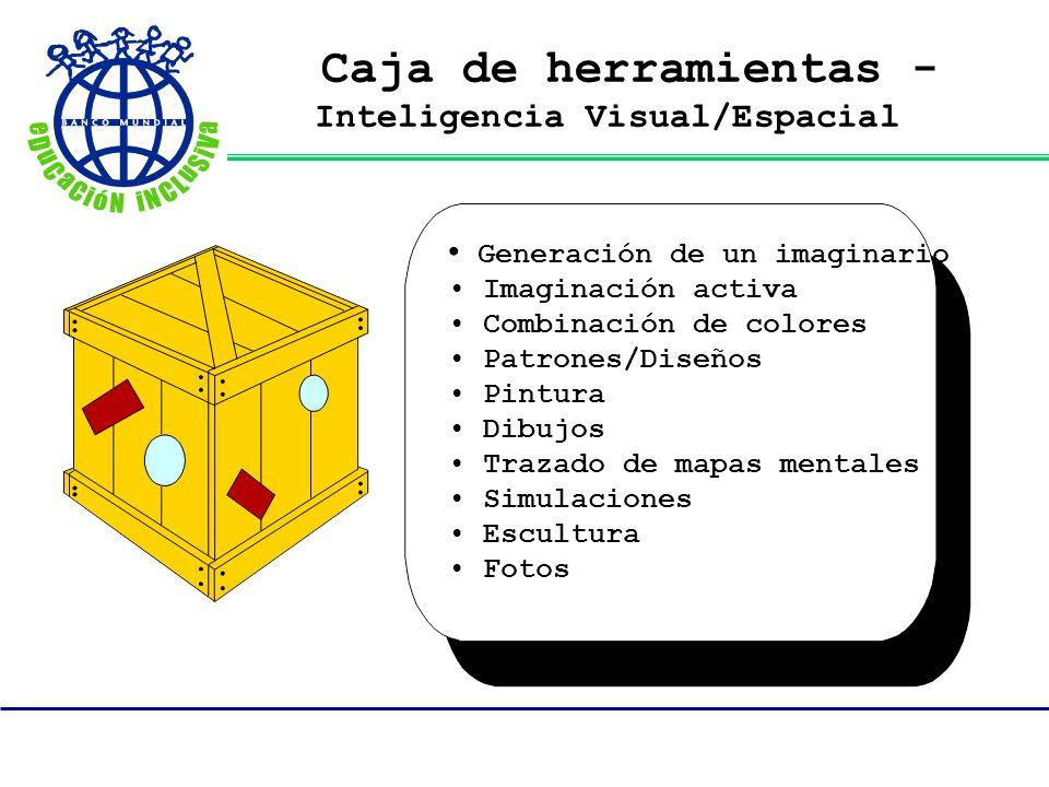 Caja de herramientas - Inteligencia Visual/Espacial Generación de un imaginario Imaginación activa Combinación de colores Patrones/Diseños Pintura Dib