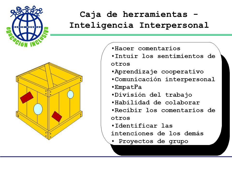 Caja de herramientas - Inteligencia Interpersonal Hacer comentarios Intuir los sentimientos de otros Aprendizaje cooperativo Comunicación interpersona