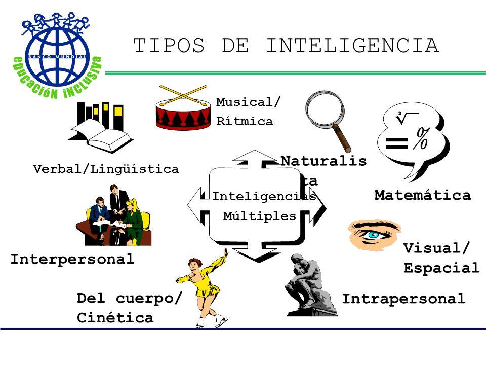 TIPOS DE INTELIGENCIA Interpersonal Matemática Inteligencias Múltiples Visual/ Espacial Del cuerpo/ Cinética Musical/ Rítmica Intrapersonal Naturalis