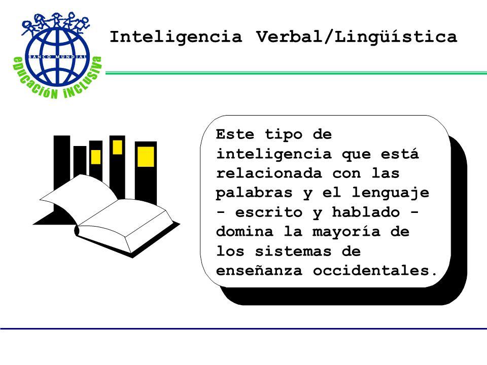 Inteligencia Verbal/Lingüística Este tipo de inteligencia que está relacionada con las palabras y el lenguaje - escrito y hablado - domina la mayoría