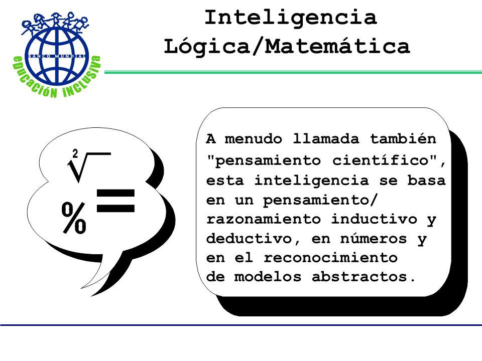 Inteligencia Lógica/Matemática A menudo llamada también