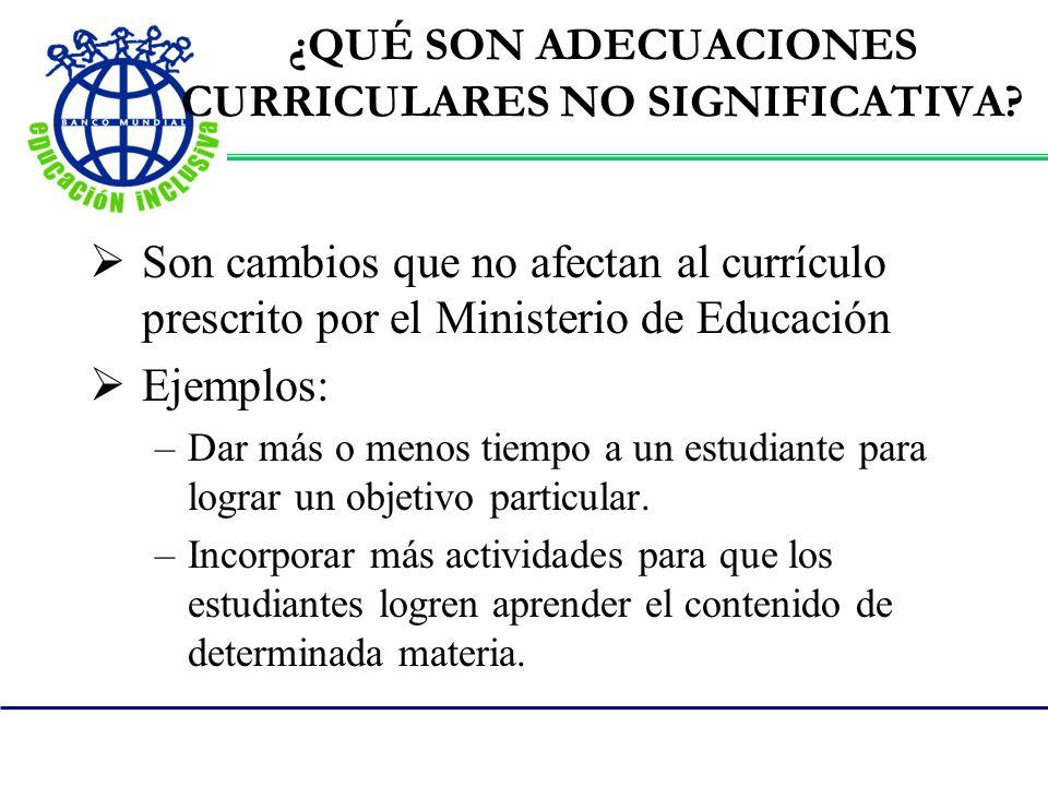 ¿QUÉ SON ADECUACIONES CURRICULARES NO SIGNIFICATIVA? Son cambios que no afectan al currículo prescrito por el Ministerio de Educación Ejemplos: –Dar m