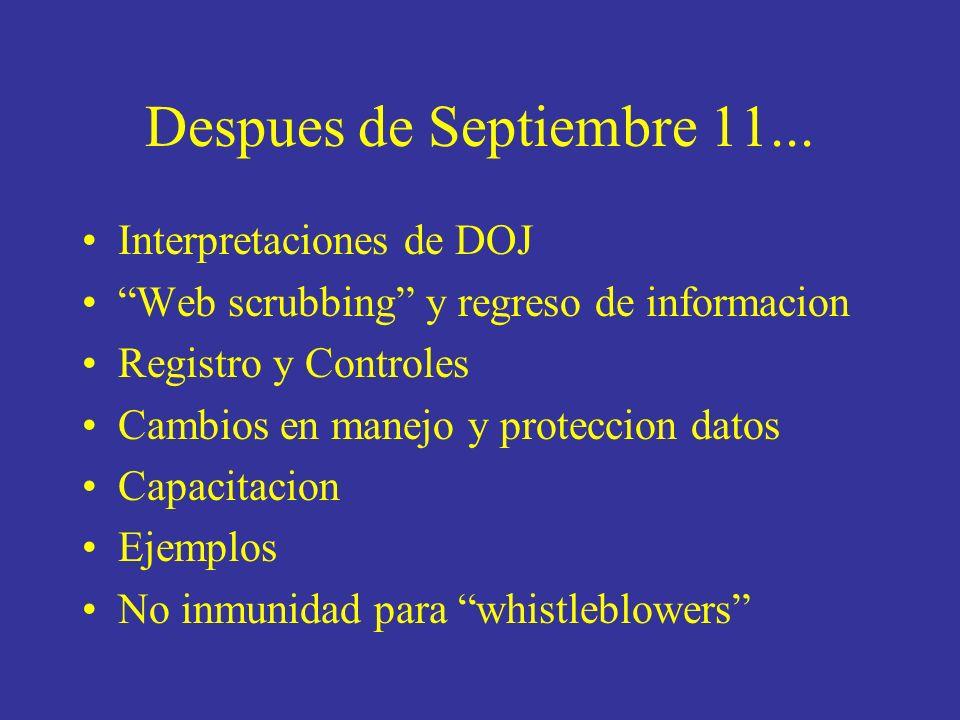 Despues de Septiembre 11...
