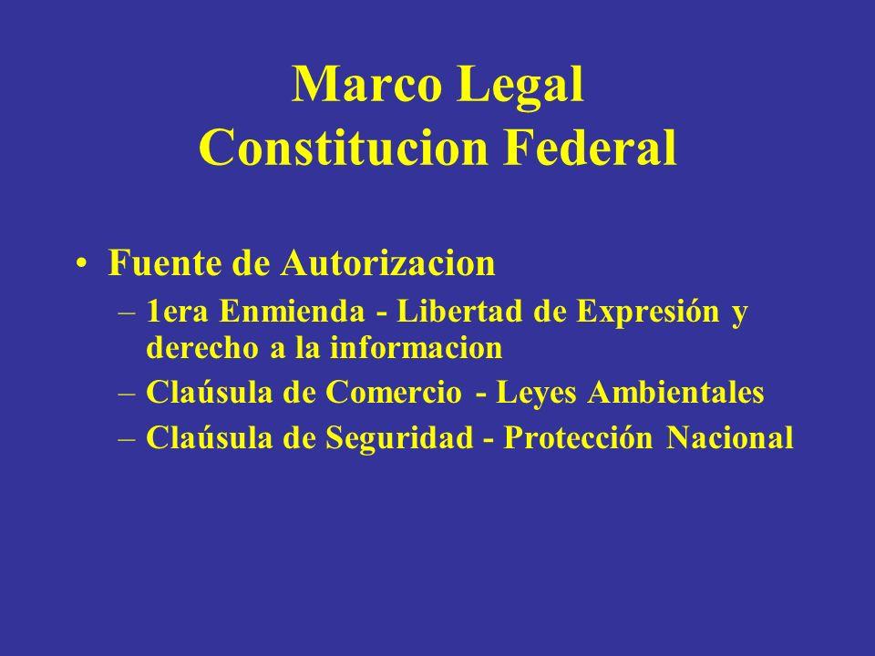Marco Legal Constitucion Federal Fuente de Autorizacion –1era Enmienda - Libertad de Expresión y derecho a la informacion –Claúsula de Comercio - Leyes Ambientales –Claúsula de Seguridad - Protección Nacional