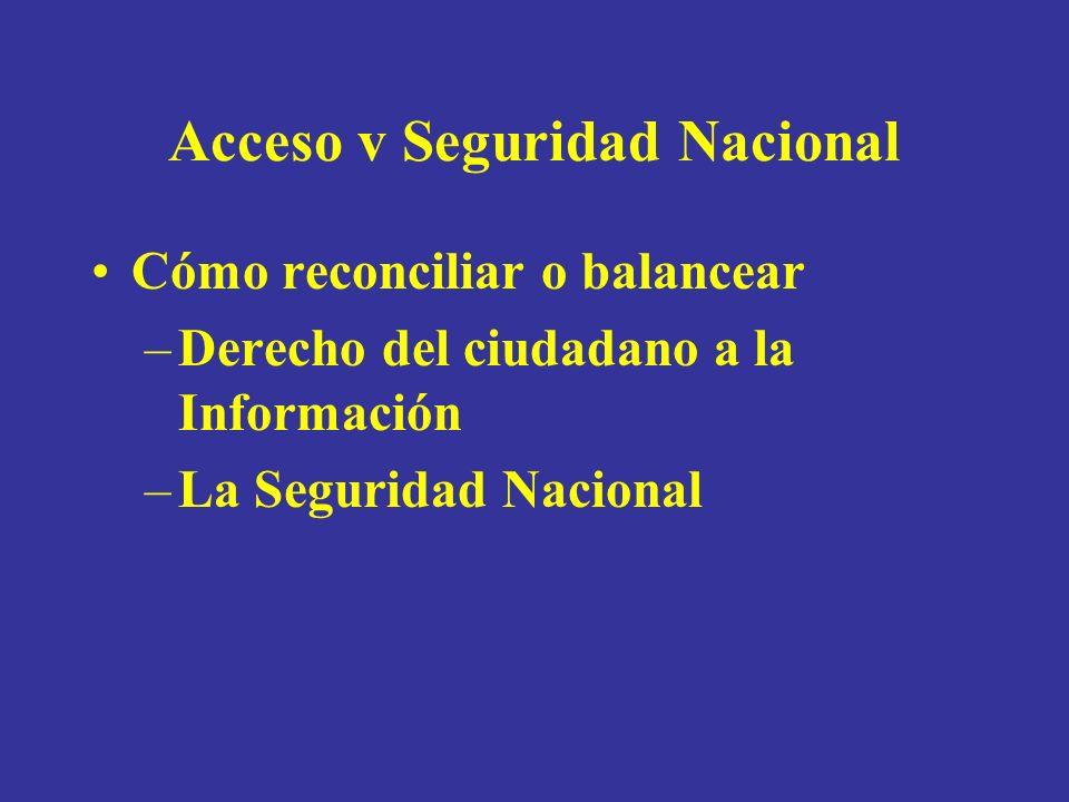 Acceso v Seguridad Nacional Cómo reconciliar o balancear –Derecho del ciudadano a la Información –La Seguridad Nacional