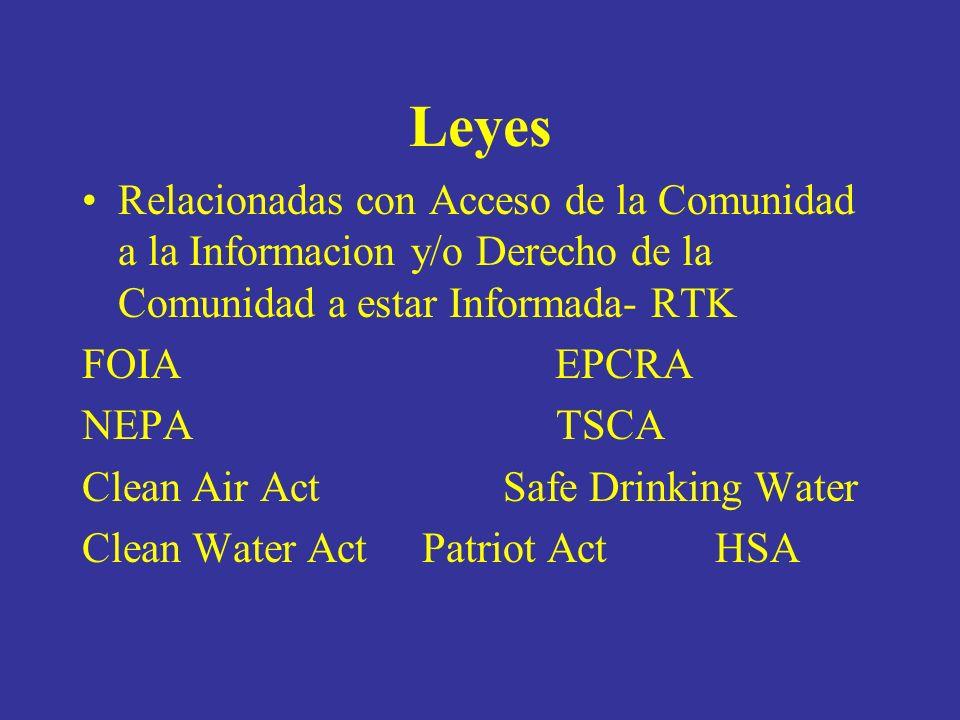 Leyes Relacionadas con Acceso de la Comunidad a la Informacion y/o Derecho de la Comunidad a estar Informada- RTK FOIA EPCRA NEPA TSCA Clean Air Act Safe Drinking Water Clean Water Act Patriot Act HSA