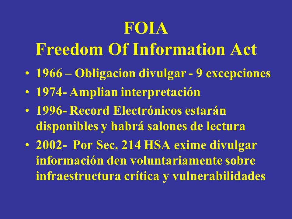 FOIA Freedom Of Information Act 1966 – Obligacion divulgar - 9 excepciones 1974- Amplian interpretación 1996- Record Electrónicos estarán disponibles y habrá salones de lectura 2002- Por Sec.