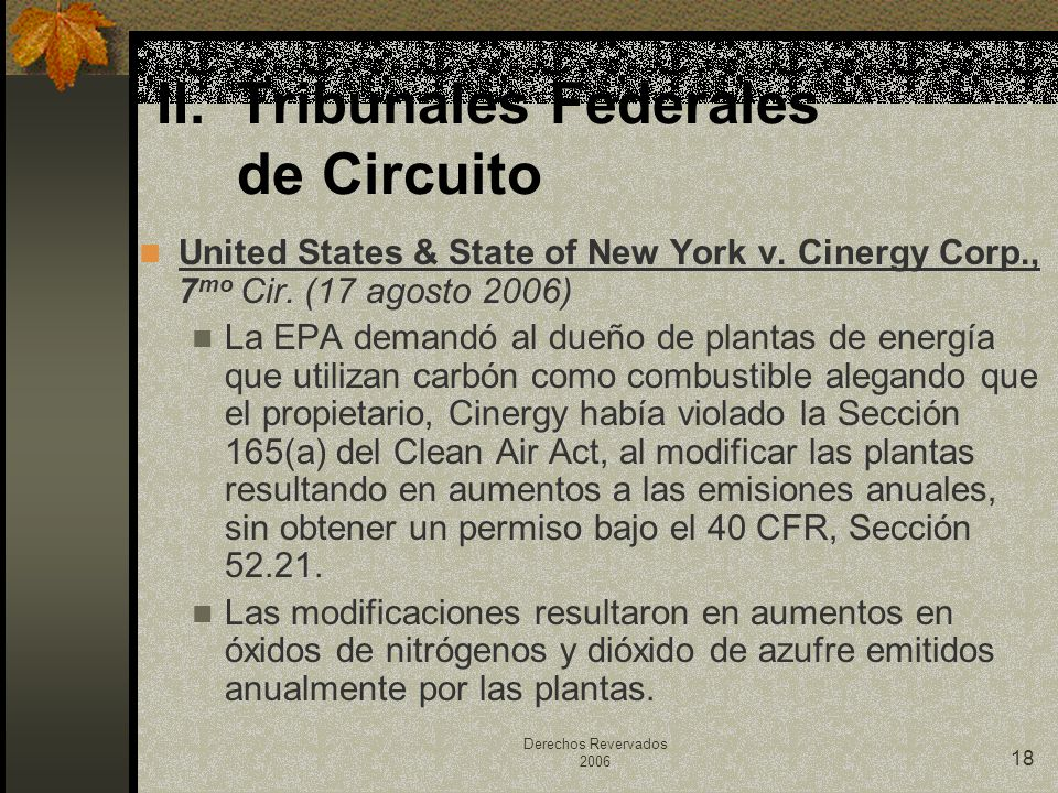 Derechos Revervados 2006 18 United States & State of New York v. Cinergy Corp., 7 mo Cir. (17 agosto 2006) La EPA demandó al dueño de plantas de energ