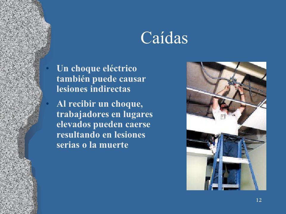 12 Caídas Un choque eléctrico también puede causar lesiones indirectas Al recibir un choque, trabajadores en lugares elevados pueden caerse resultando