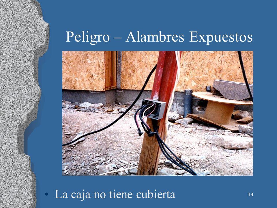 14 Peligro – Alambres Expuestos La caja no tiene cubierta