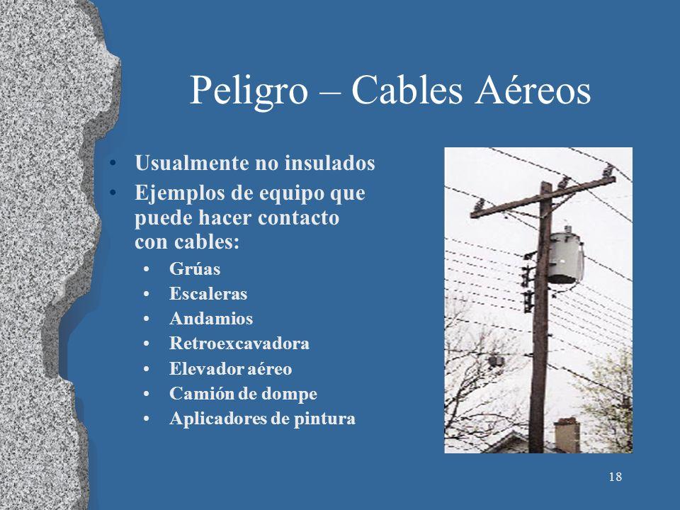 19 Cables Aéreos Mantenga una distancia de 10 pies Fije señaes de advertencia Dé por sentado que las líneas tengan potencia Use escaleras de madera o fibra de vidrio, no de metal Los trabajadores en las torres necesitan capacitación y EPP especial