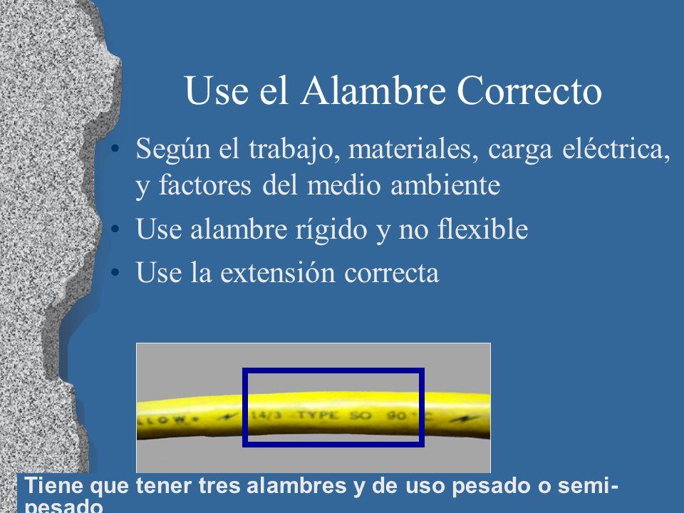 21 Use el Alambre Correcto Según el trabajo, materiales, carga eléctrica, y factores del medio ambiente Use alambre rígido y no flexible Use la extens