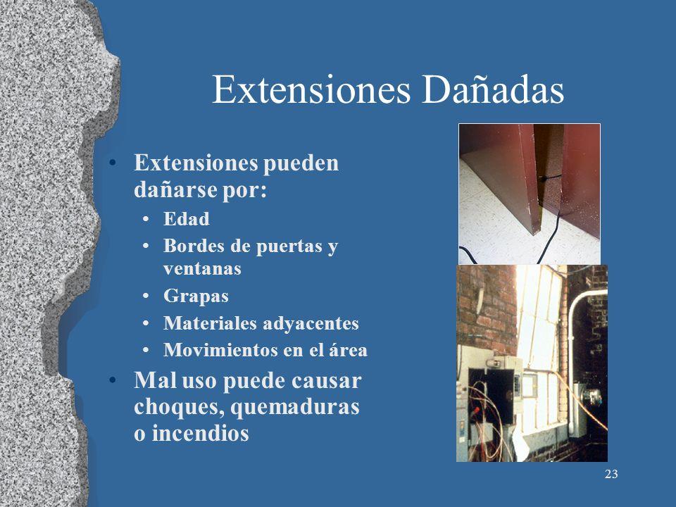 23 Extensiones Dañadas Extensiones pueden dañarse por: Edad Bordes de puertas y ventanas Grapas Materiales adyacentes Movimientos en el área Mal uso p