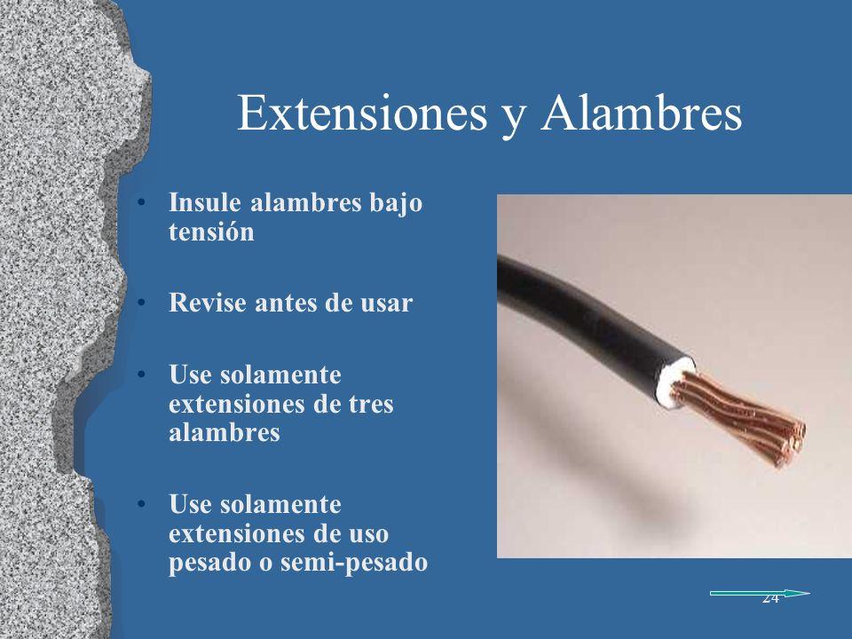25 Extensiones y Alambres Use solamente extensiones y conexiones que tengan retenedores Desenchufe extensiones por el enchufe, no el alambre Quite de servicio las extensiones modificadas o las que no sean para uso pesado o semi- pesado