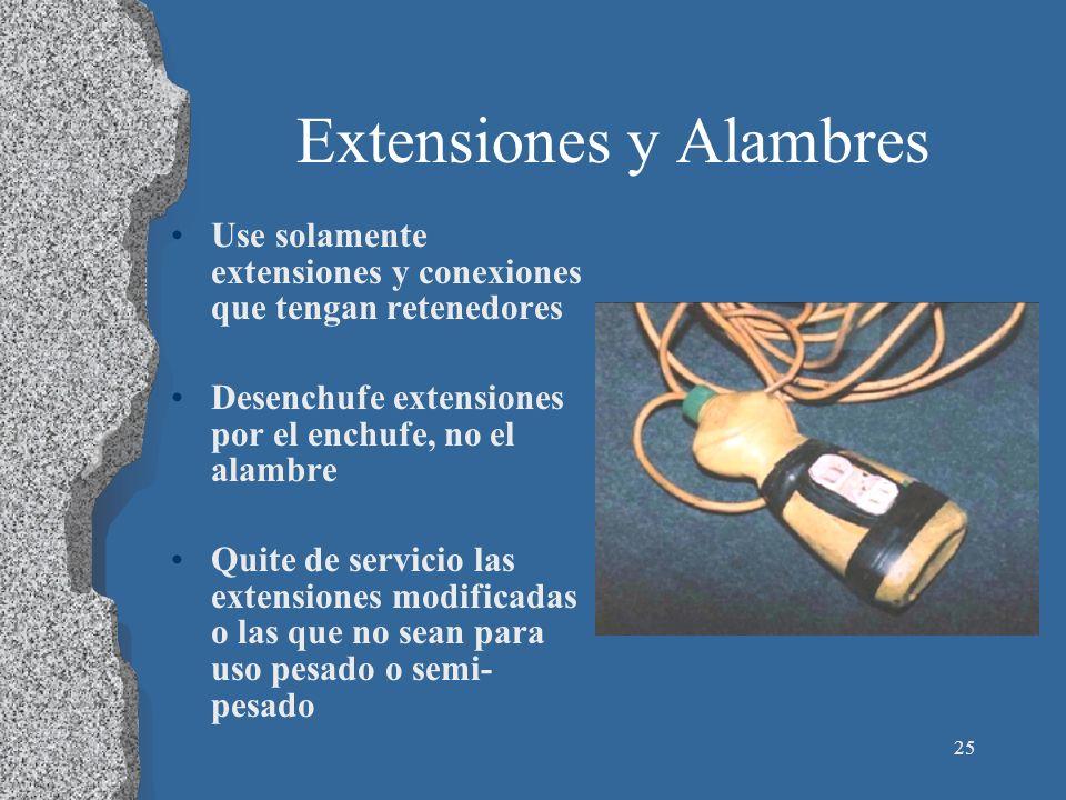 25 Extensiones y Alambres Use solamente extensiones y conexiones que tengan retenedores Desenchufe extensiones por el enchufe, no el alambre Quite de