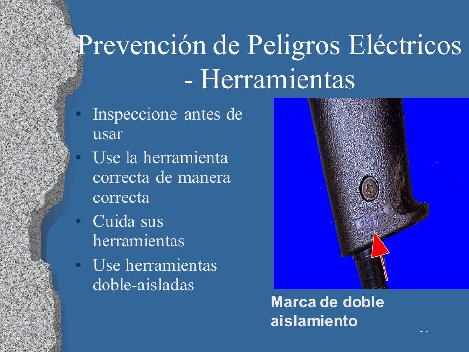 36 Prevención de Peligros Eléctricos - Herramientas Inspeccione antes de usar Use la herramienta correcta de manera correcta Cuida sus herramientas Us