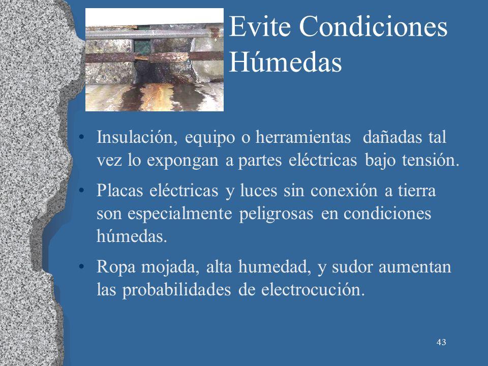 43 Evite Condiciones Húmedas Insulación, equipo o herramientas dañadas tal vez lo expongan a partes eléctricas bajo tensión. Placas eléctricas y luces