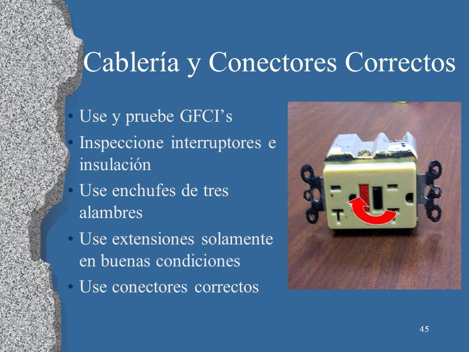 45 Cablería y Conectores Correctos Use y pruebe GFCIs Inspeccione interruptores e insulación Use enchufes de tres alambres Use extensiones solamente e