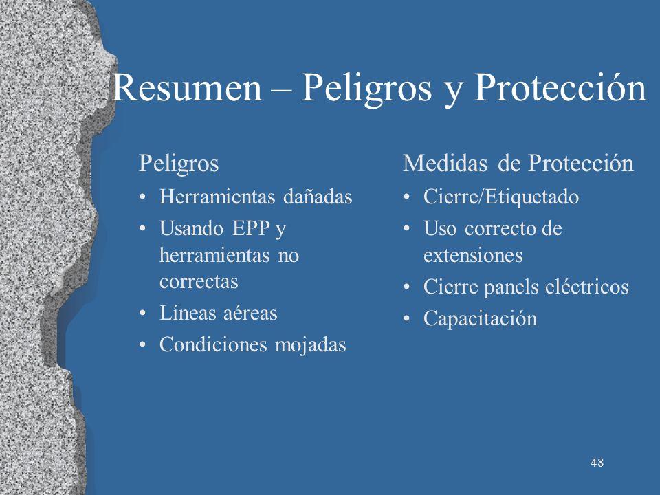 48 Resumen – Peligros y Protección Peligros Herramientas dañadas Usando EPP y herramientas no correctas Líneas aéreas Condiciones mojadas Medidas de P