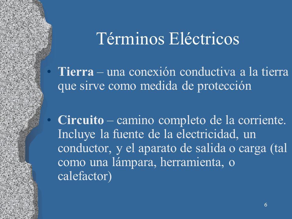 6 Términos Eléctricos Tierra – una conexión conductiva a la tierra que sirve como medida de protección Circuito – camino completo de la corriente. Inc
