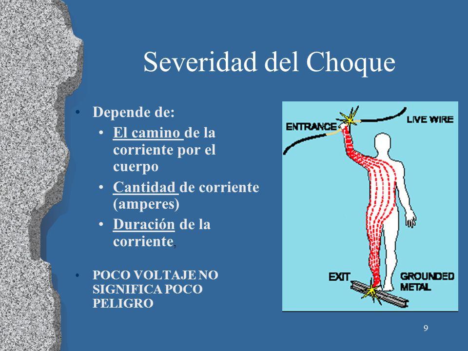 9 Severidad del Choque Depende de: El camino de la corriente por el cuerpo Cantidad de corriente (amperes) Duración de la corriente, POCO VOLTAJE NO S
