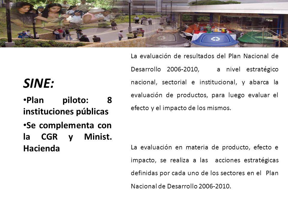 La evaluación de resultados del Plan Nacional de Desarrollo 2006-2010, a nivel estratégico nacional, sectorial e institucional, y abarca la evaluación