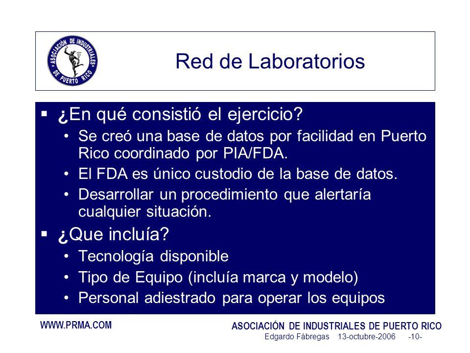 WWW.PRMA.COM ASOCIACIÓN DE INDUSTRIALES DE PUERTO RICO Edgardo Fábregas 13-octubre-2006 -10- Red de Laboratorios ¿En qué consistió el ejercicio.