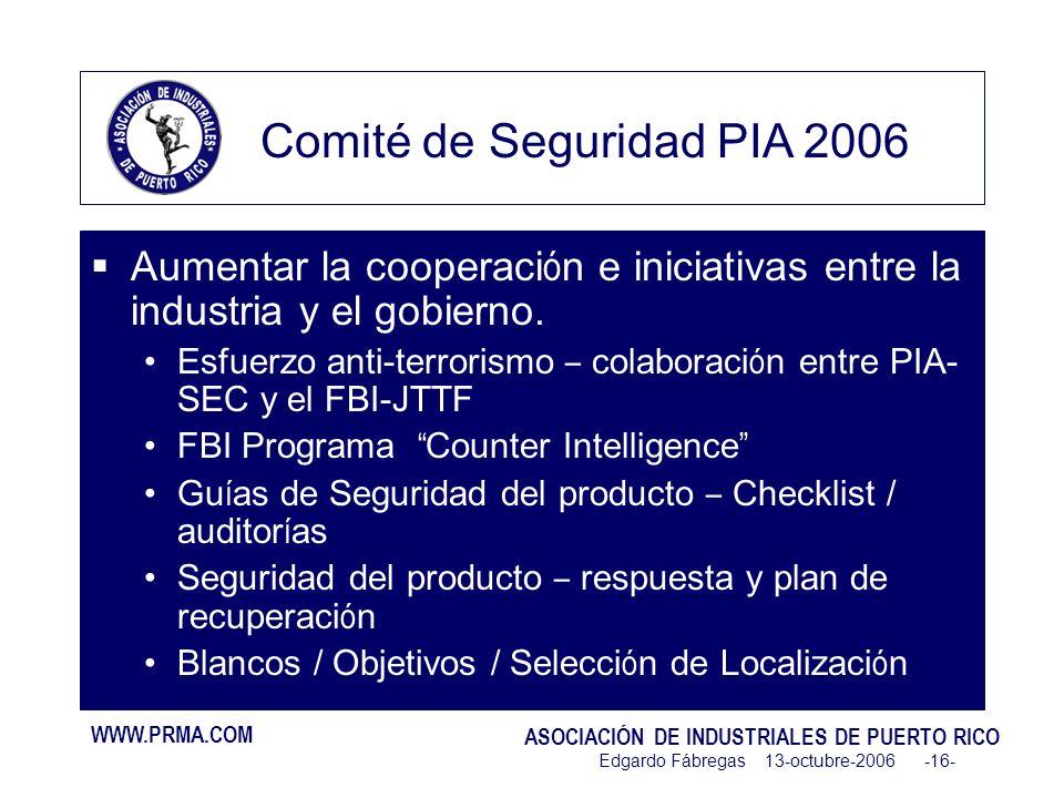 WWW.PRMA.COM ASOCIACIÓN DE INDUSTRIALES DE PUERTO RICO Edgardo Fábregas 13-octubre-2006 -16- Aumentar la cooperaci ó n e iniciativas entre la industria y el gobierno.